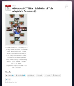 • Art Exhibition of Tola Adegbite's Pottery Works | Posted in category >Visual Art
