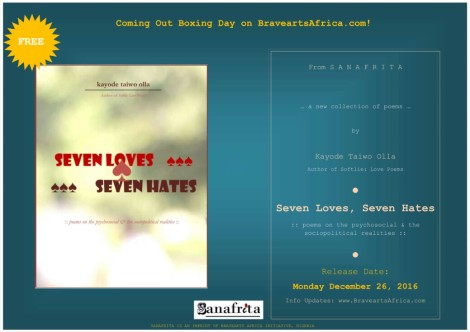 • Seven Loves, Seven Hate---by Kayode Taiwo Olla. Out December 26!